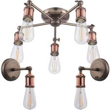 5 lamp ceiling pendant 2x matching wall light pack tarnished aged copper kit
