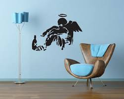 on artistic wall decal with banksy s famous street art inside your home