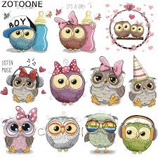 <b>ZOTOONE</b> Owl Animal Heat Transfer Patches for Clothing Sticker ...