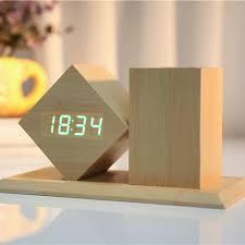 wooden desk clock pen holder