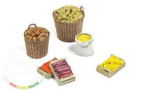 1 35 fruit vegetables in containers 1 bag 2 baskets 3 wooden crates