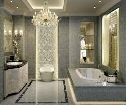 modern bathroom lighting luxury design. Bathroom Lighting Design In Luxury White Shade Chandelier And Floral Wall Tile Also Wooden Vanity With Marble Top Single Sink Plus Large Mirror Modern X