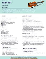 Sample Musician Resume Musician Resume Example