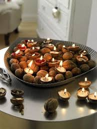 Cute candles from nut shells,