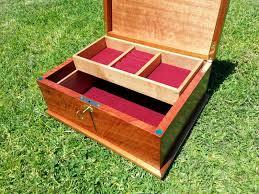 hardwood jewellery box custom made tray brass lock