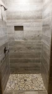 rustic bathroom showers. barnwood tile shower with pebble base rustic-bathroom rustic bathroom showers u