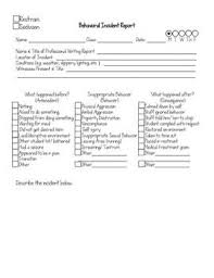 Behavioral Incident Report Form Printable Editable