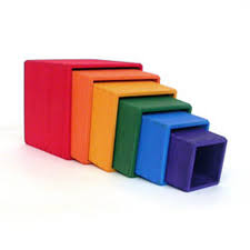 wooden rainbow stacking boxes large