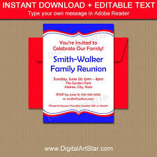 Printable Family Reunion Invitations Printable Family Reunion Invitations Royal Blue And Red