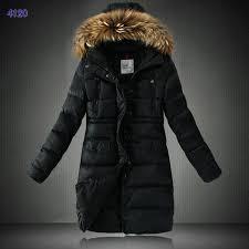 Moncler Coats Women Down Coats Black With Fur Collar Outlet 9Gce