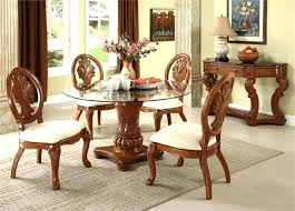 glass top dining table set 4 chairs round with crafted wood base four wooden chair
