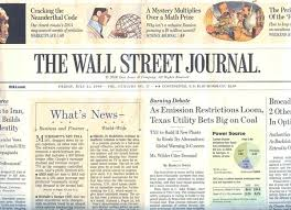 Wall street journal today's paper