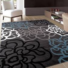 Contemporary Modern Floral Flowers Grey Area Rug 7 10 x 10 2