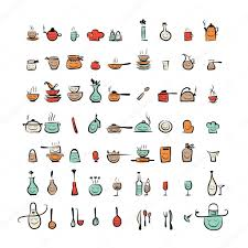 kitchen utensils drawing. Kitchen Utensils Characters, Sketch Drawing Icons For Your Design \u2014 Stock Vector C