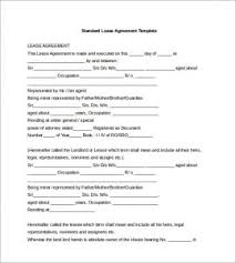 standard rental agreement template free lease agreement template word template business