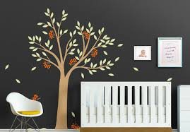 large tree with leaves and berries wall decal vinyl tree wall stickers baby nursery bedroom wall on tree wall art for baby nursery with large tree with leaves and berries wall decal vinyl tree wall
