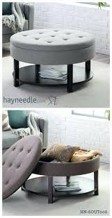 small ottoman stool. Storage Stool Ottoman Cube With Tray Round Small Table Gray Leather Brown Living . S