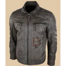 mens grey real distressed leather jackets