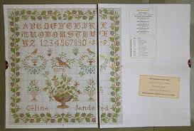French Cross Stitch Charts Cute Cross Stitch Sampler Chart Pattern French Sampler 1876