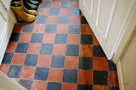 you can see below where the encaustic tiles in the diamond pattern stop and the quarry tiles in the checkerboard pattern start