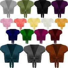 Ladies Plain <b>Tie Up</b> Front Bolero Shrug Womens <b>Short</b> Sleeve ...