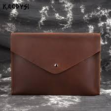 Men S Ipad Cases Designer Us 33 85 50 Off Designer Crazy Horse Cow Leather Vintage Men Envelope Bag Briefcase Simple Quality Clutch Bag Tablet Document Case Bag For Ipad On