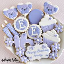 Birthday Party Custom Sugar Cookies Decorated In Royal Icing For