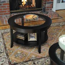 living room interesting small glass coffee tables decor ideas polished wooden flooring rectangle patterned carpet round table shelf brick wall fireplace