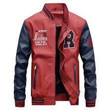 men s pu leather embroidery baseball jackets coats slim fit zipper casual outwear intl