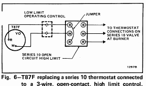 room thermostat wiring diagrams for hvac systems honeywell t87f thermostat wiring diagram for 2 wire spst control of heating only in