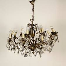 12 light brass chandelier with crystal glass prisms italy 20th century