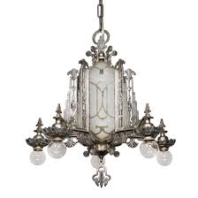 sold magnificent antique art deco chandelier mirrored and etched glass