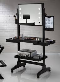 black metal makeup vanity set with lighted mirror with wheels
