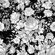 black and white floral wallpaper pattern. Interesting And Monochrome Floral Wallpaper With Black And White Pattern D