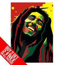 Bob Marley Rasta Jamaican Pop Art Poster Print A4 A3 Size