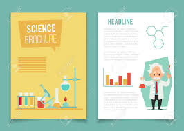 Brochure Template With Scientist And Chemical Equipment Flat