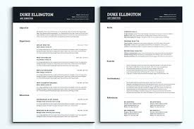 2 Page Resume Template Amazing One Or Two Page Resume One Page Resume Format Doc Two Example Sample