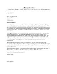 Cover Letter Examples For Financial Analyst Lovely Dissertation