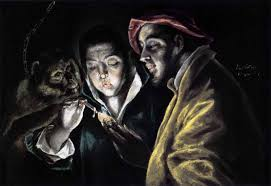 allegory of el greco boy lighting a candle in the company of monkeys around