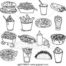 fast food clipart black and white. Fine White Fast Food Menu Icons Black Outline Throughout Food Clipart Black And White
