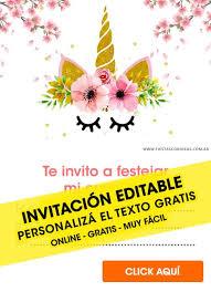 35 Invitaciones De Unicornios Gratis Para Editar