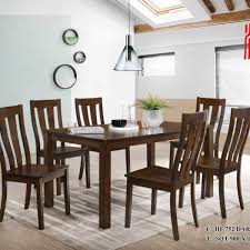 Skl Furniture Ealmo 1 6 Dining Table Set Solid Wood Malaysia