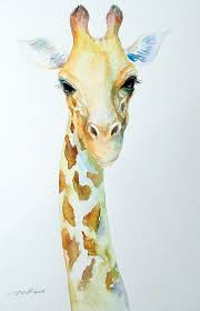 original small watercolor animal painting giraffe by artiart 59 00