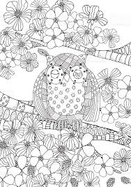 Coloring Book Page For Adult And Children Owl Sitting On Tree