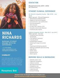Resume sample format for students student resume sample. Nursing Student With No Experience Resume Samples Templates Pdf Word Resumes Bot