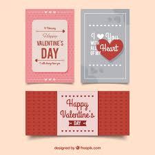 Three Happy Valentine's Day Cards In Retro Design Vector | Free Download
