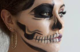 half skull makeup tutorial on you for the teeth create a white area along the lips and extend up towards the cheek