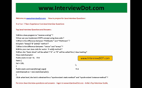 3 Years Experience Top Core Java Interview Questions Part 1 Youtube