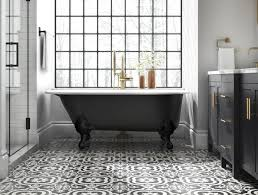 White bathroom tiles Wood Floor Clawfoot Tub Resting On Patterned Floor Created Using Black And White Tile Lowes Bathroom Tile And Trends At Lowes