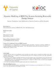Pdf Dynamic Modeling Of Ieee Test Systems Including Renewable